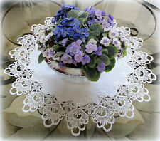 """Large Doily 25""""  DECADENT WHITE  Table Topper Dresser Scarf  European Lace"""