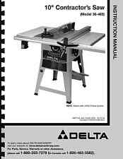 """Delta 10"""" Table Saw Instruction Manual for Model No. 36-465"""