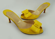 Christian Louboutin Yellow Patent Leather Peep Toe Bow Accent Mule Heel 38.5 8.5