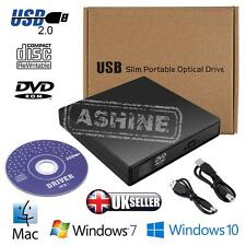 UK External USB 2.0 Slim DVD±RW CD±RW Drive Burner Writer Reader Rewriter Copier