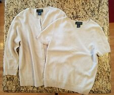 NEW Ralph Lauren 100% Cashmere Sweater Twin Set Cardigan, Short Sleeve Large Med