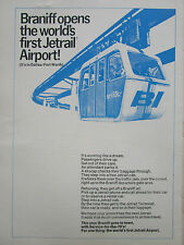 5/1970 PUB BRANIFF INTERNATIONAL AIRLINES JETRAIL AIRPORT DALLAS FORT WORTH AD