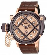 New Mens Invicta 16175 Russian Diver Swiss Mechanical Brown Leather Watch