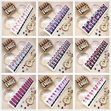 1pc Long Size Manicure Nail Art Water Transfer Tips Stickers Decals Random Send