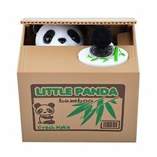 Funny Panda Stealing Coin to Bamboo Money Box Bank Home Decor Gift US Seller