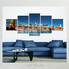 Brooklyn 2 QUADRO MODERNO 190x70 STAMPA TELA NEW YORK SKYLINE PONTE MANHATTAN