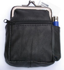 Black Genuine Leather Snap Cigarette Case. 2 Zipper pockets 1 Lighter Pouch 100s