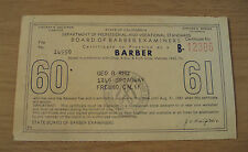 """1960 California CERTIFICATE to Practice as a """"BARBER""""~Fresno~"""