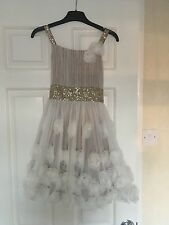 MONSOON GIRLS IVORY GOLD SEQUIN ROSIE CASCADE TULLE ROSE PARTY DRESS Age 10-11 y