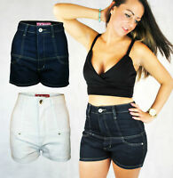 LADIES TIGHT HIGH RISE WAISTED SHORTS HOTPANTS DARK INDIGO DENIM WHITE 6 8 10 12