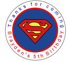 24 Superman Logo Birthday Favor Label Stickers  Personalized  1.67""