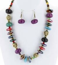 MULTI COLOR LUCITE BEAD CERAMIC CHIPS GOLD TONE BEAD NECKLACE EARRING SET