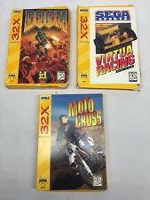 Sega Genesis 32X Doom Moto Cross Virtua Racing Video Game Lot CIB