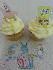 12 PRECUT Edible Spongebob wafer/rice paper cake/cupcake toppers