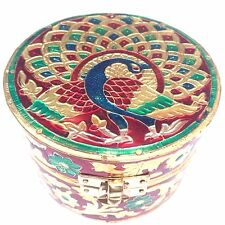 Fancy Round Wooden Gift Box Indian Peacock Design Jewellery Hand Made 10cm x 7cm