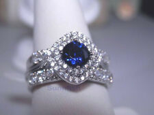 925 STERLING SILVER SIMULATED BLUE SAPPHIRE HALO 3 RING SET SIZE 6