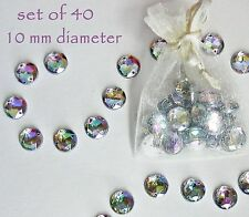 Crystal Rhinestones Sparkly Rainbow Gems 10mm Sew On Craft 40 Round Flat Back