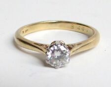 18k Yellow Gold & Platinum Diamond Ring .25 cts size 5.5 Round Solitaire