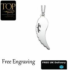 Angel Wing Pendant, Personalised Name Necklace, 18K White Gold Plated, Gift, UK