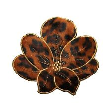 ID 5095 Fuzzy Leopard Print Flower Blossom Embroidered Iron On Applique Patch