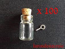 LOT 100 MINI FIOLE bouteille flacon en verre + 100 pitons SANS NICKEL