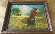 RARE VINTAGE PHILIPPINO MASTER SIMON SAULOG 1916-95 ORIGIN.OIL PAINTING ON BOARD