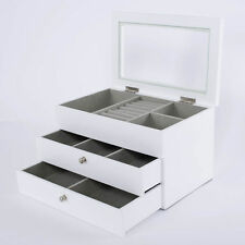 Large White Wooden Jewellery Box Glass Lid Storage 2 Drawers