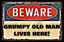 *WARNING GRUMPY OLD MAN LIVES HERE * MADE IN USA!  METAL SIGN 8X12 MAN CAVE BAR