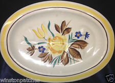 """RED WING POTTERY CHINA PICARDY MEAT PLATTER 12 1/2"""" BLUE & YELLOW FLOWERS"""