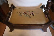 Vintage1940s-1950s  HITCHCOCK Wooden Footstool Gold Needlepoint Cover