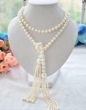 new Long PERFECT 7-8+11mm white akoya pearl necklace 60inch