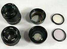 LOT x4 Camera Lens x2 UV Filters Vivitar 50mm 1:1.8 135mm 1:3.5 wide/telephoto