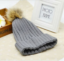 Cute Womens Warm Wool Knitted Raccoon Fur Pom Beanie Bobble Ski Hat Slouch Cap