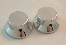 Guitar Parts METAL TOP HAT Skirt KNOBS - Stratocaster style - Set of 2 - CHROME