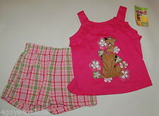 Toddler Girls Shorts & Ruffled Tank SCOOBY DOO Pink Plaid FLOWERS 12 Months