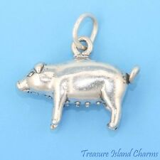 PIG SOW FARM ANIMAL 3D .925 Solid Sterling Silver Charm Pendant MADE IN USA