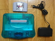 Nintendo 64 Console N64 Clear Blue Color System W/adapt and Game set Retro Japan