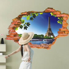 3D Broken Pattern Mural Wall Stickers Paris Eiffel Tower Decals Vinyl Decor
