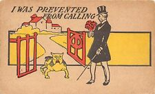 POSTCARD   COMIC  BULLDOG    WRITE  AWAY  I was  prevented from  calling...