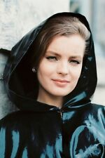 Romy Schneider 11x17 Mini Poster in shiny coat and hood