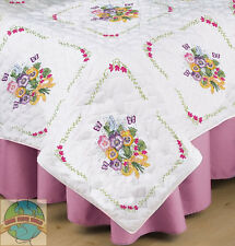 Embroidery Kit ~ Tobin / Design Works Pansies Bouquet Quilt Blocks (6) #T288092