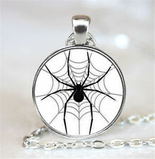 Vintage Spiders Cabochon Tibetan silver Glass Chain Pendant Necklace XC21