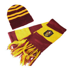 2pcs HARRY POTTER Gryffindor Thicken Wool Knit Scarf+Cap/Hat Wrap Soft Warm