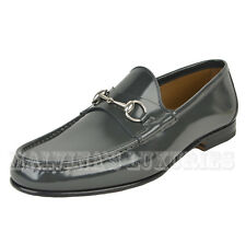 $640 GUCCI MENS LOAFERS 1953 BRUSHED LEATHER HORSEBIT SHOES PIOMBO 11 12 45.5