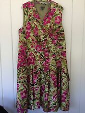 New Directions Green and Pink Floral Faux Wrap Dress Size 20W