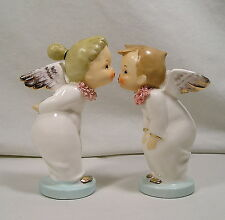 Napco Kissing Boy & Girl Angel Figurines,Pink Spaghetti Trim Napcoware Figures