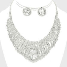 CLEAR ROUND ACCENTED RHINESTONE BRIDAL SILVER STATEMENT NECKLACE EARRING SET