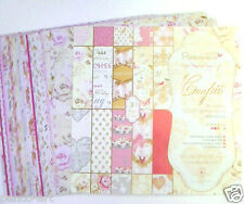"""Papermania 12x12"""" scrapbooking Confetti paper. Wedding hearts roses love married"""