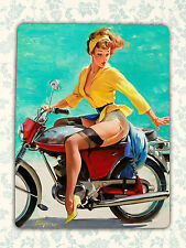 RETRO PIN UP stile Gil Elvgren GIRL moto metallo TIN SIGN TARGA sul muro REGALO