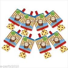 CURIOUS GEORGE BLOWOUTS (8) ~ Birthday Party Supplies Favors PBS Kids Noisemaker